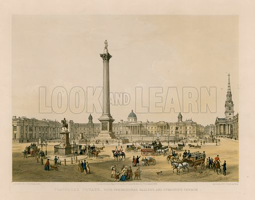 Trafalgar Square with the National Gallery and St Martin's Church. Published 1 May 1852.