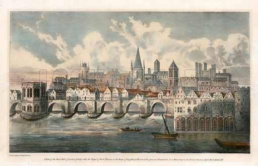 View of east side of Old London Bridge from BM Royal MSS.