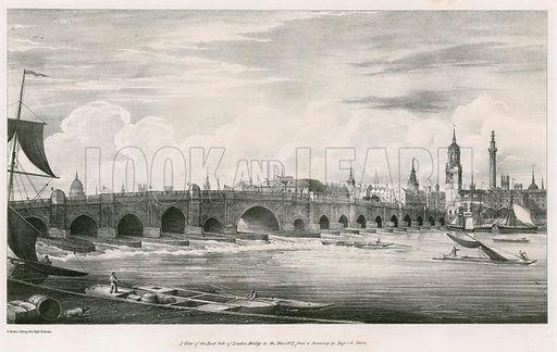 A view of the east side of London Bridge in the year 1827, from a drawing by Major G Yates.