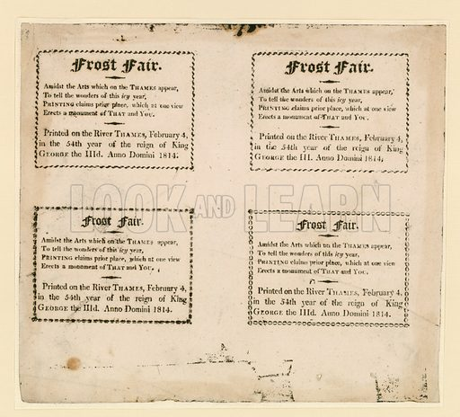 Frost Fair of 1814. Souvenirs printed on the ice.