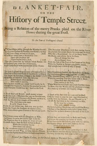 Blanket Fair. Poem about Frost Fair of 1684.