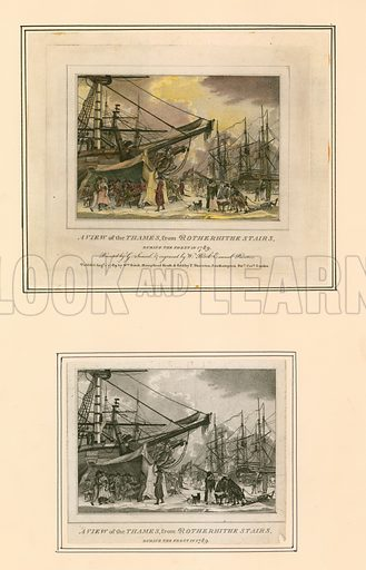 Frost Fair of 1789. Coloured and uncoloured versions of engraving.