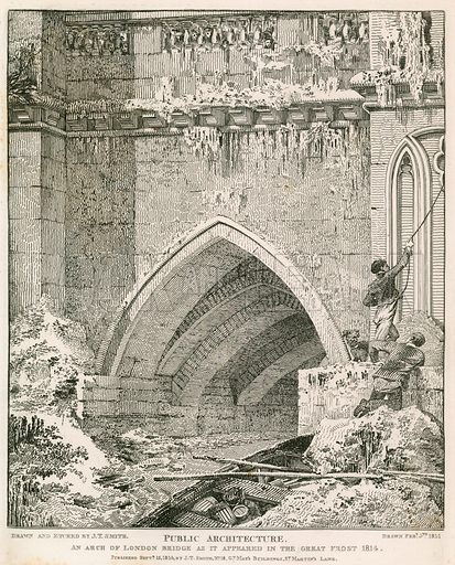 An arch of London Bridge as it appeared in the great frost of 1814.