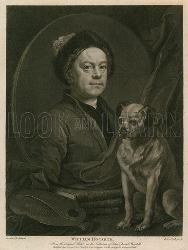 Hogarth self-portrait, picture, image, illustration