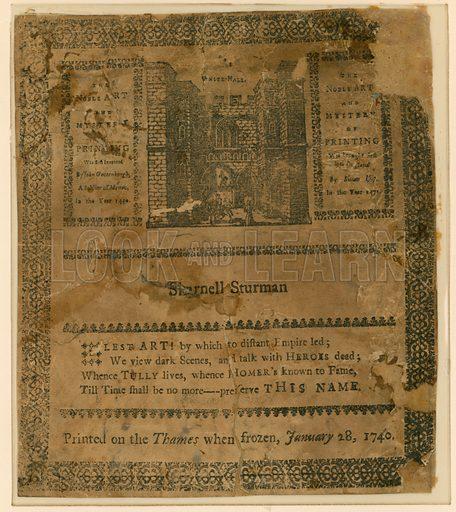 Frost Fair of 1740. Souvenir.