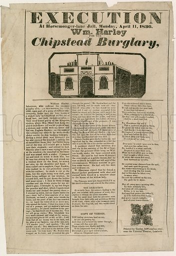 Execution of William Harley for the Chipstead Burglary. 11 April 1836.