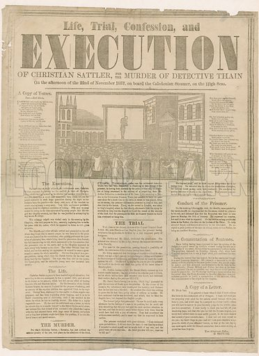 Execution of Christian Sattler for murder of Detective Thain, 1857.