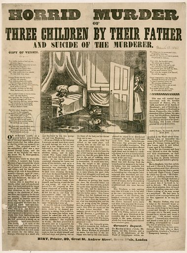 Horrid Murder of Three Children by their Father, and Suicide of the Murderer, 1842.