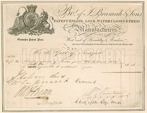 Bill for repairs to locks at Newgate prison. Signed by the Keeper.