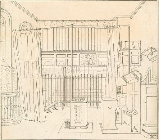 Newgate Chapel. Original artwork. Signed HP Horne.