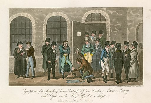 Symptons of the finish of some sorts of life in London – Tom, Jerry and Logic in the Press Yard at Newgate Prison. From Life in London by Pierce Egan, published in 1822.