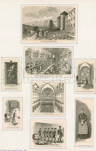 Various scenes within Millbank Penitentiary. From Mayhew's Criminal Prisons of London (1862).