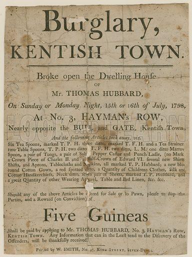 Burglary in Kentish Town in 1798. Reward of £5.