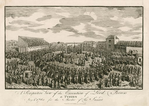 Execution of Lord Ferrers at Tyburn, 5 May 1760, for murder of his steward.
