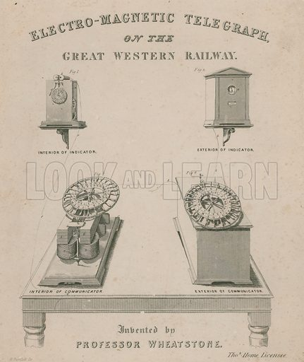 Electro-magnetic telegraph on the Great Western Railway. Invented by Professor Wheatstone.