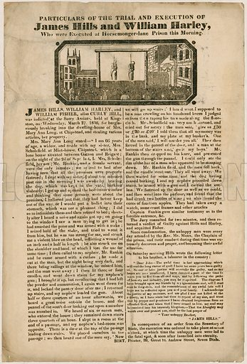 Trial and execution of James Hills and William Harley.  1836.