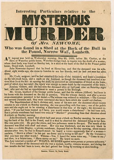 Mysterious murder of Mrs Newcome, 1835.