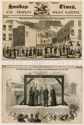 Execution of Francois Benjamin Courvoisier for the murder of Lord William Russell, 6 July 1840.