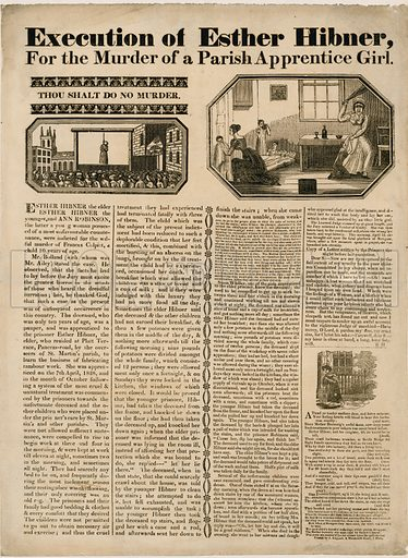 Execution of Esther Hibner for the murder of a parish apprentice girl, 1828.