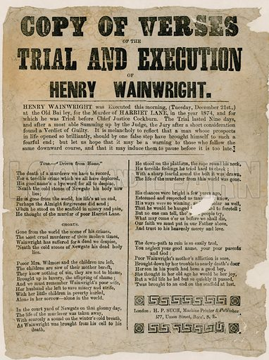 Trial and execution of Henry Wainwright, 1874. Verses.