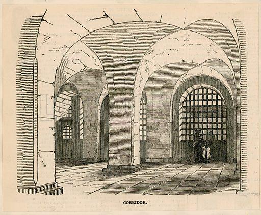 Newgate prison – Corridor. From the Illustrated London News 1850.