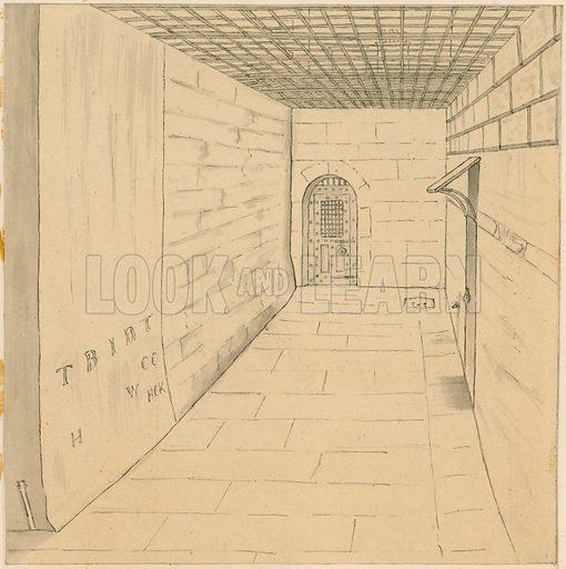 Birdcage walk at Newgate prison. Original artwork.