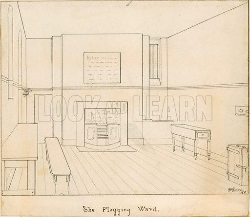 The Flogging Ward at Newgate prison. Picture dated 1881. Original artwork. Signed HP Horne.