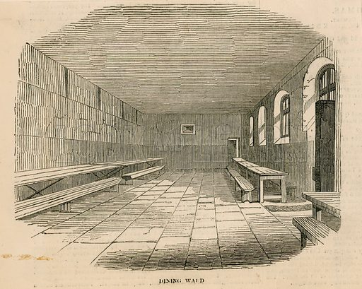 Dining ward at Newgate prison. From Illustrated London News 1850.