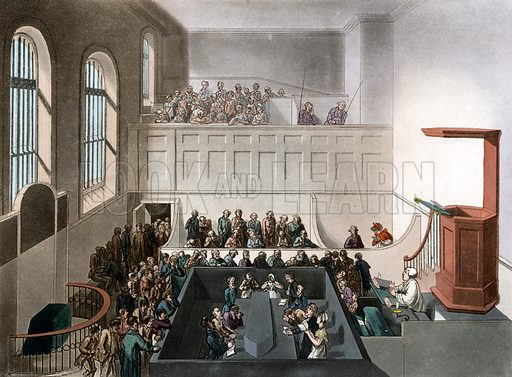 Newgate chapel. Published 1809. Original colours digitally restored.