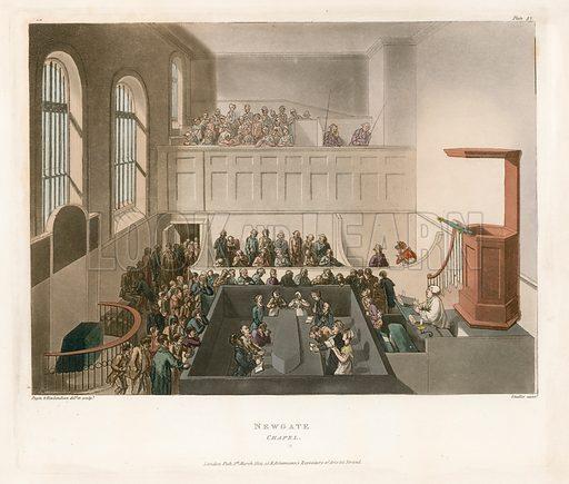 Newgate chapel. Published 1809.