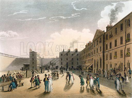 King's Bench Prison. Published 1808. Original colours digitally restored.