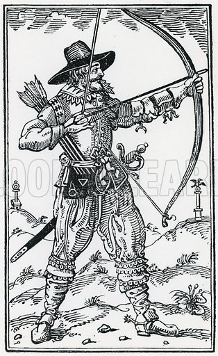 An archer in Finsbury Fields. From Gervase Markham's The Art of Archerie (1634). Thought to depict king Charles I.