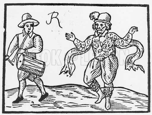 "William Kempe. Comedian who played Dogberry and Peter in Shakespeare's Romeo and Juliet. Here dancing ""Kempe's Jig"" from London to Norwich."