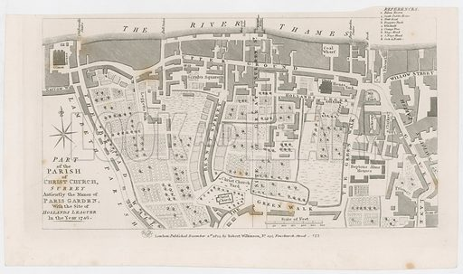 Map showing the manor of Paris Garden by R Wilkinson, 1822.