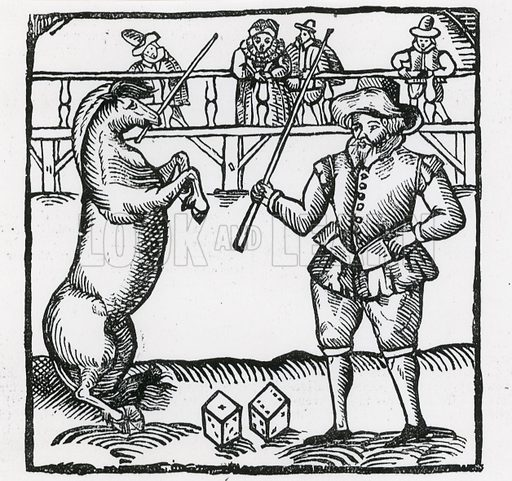 Dialogue between one Banker and his Horse, Maroccus, which could count the number on the dice. From Maroccus Exstaticus, 1595.