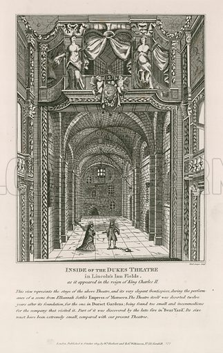 Inside of the Duke's Theatre in Lincoln's Inn Fields, as it appeared in the reign of king Charles II.