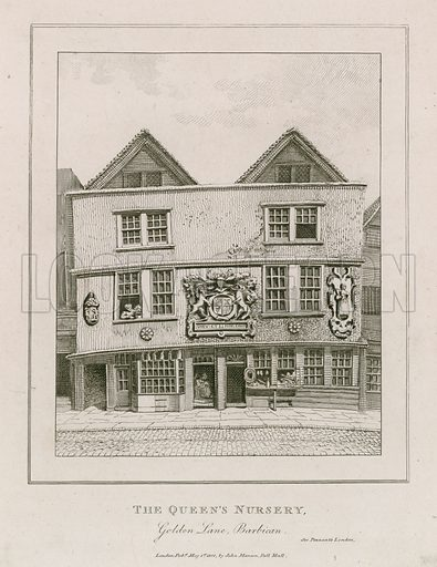Front of the Fortune theatre, as it looked in 1800 after having been turned into a shop.