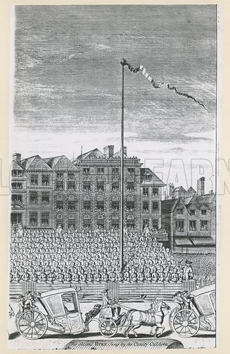 The Maypole in the Strand. Queen Anne (not shown) was seen by 4,000 charity schoolchildren who watched.