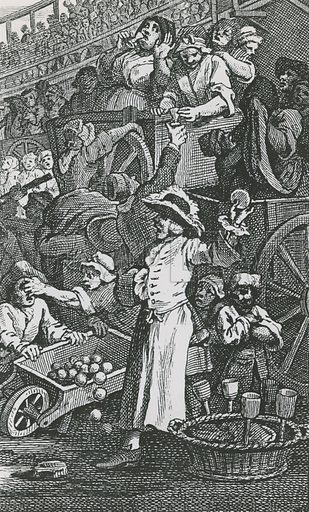 Tiddy Doll. Detail from Hogarth's Idle Apprentice. The gingerbread man regularly attended the May Fair, the Lord Mayor's Show and Tyburn executions.