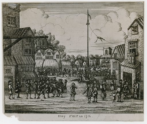 May Fair in 1716. Looking north from modern Shepherd Street.