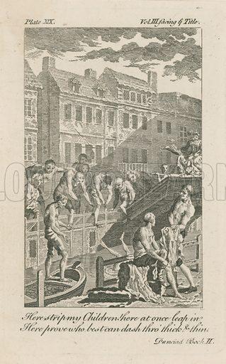 Boys bathing in the Fleet Ditch by Bridewell Bridge in 1728.
