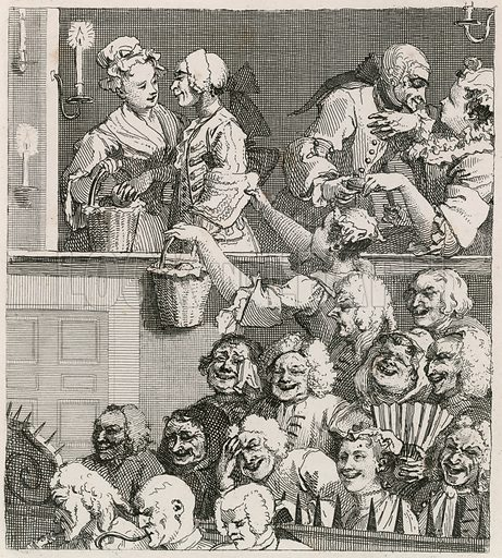 The Laughing Audience. Hogarth's view of Drury Lane with orange wenches in 1733.