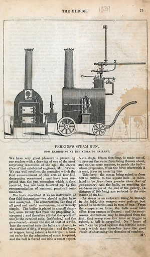 Perkins's steam gun, now exhibiting at the Adelaide Gallery. From the Mirror 1839.