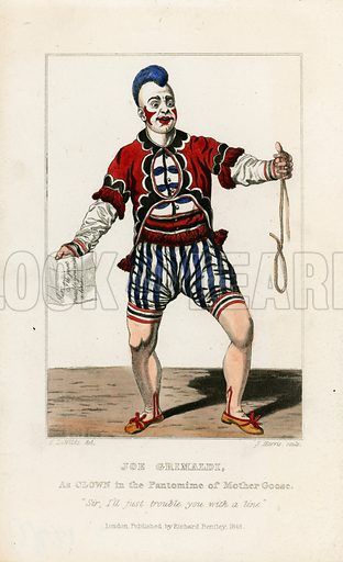 Joe Grimaldi, as clown in the pantomine of Mother Goose. Published 1846.
