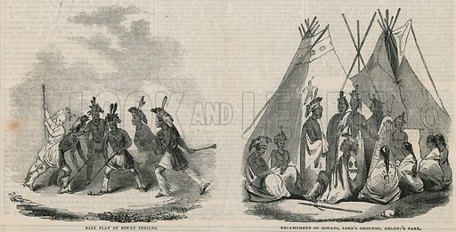 Ioway Indian encampment, Lord's Cricket Ground. From Pictorial Times, 31 August 1844.