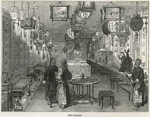 Saloon of Chinese junk brought to London as a curiosity. From the Illustrated London News 20 May 1848.