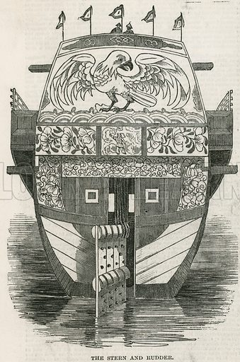 Stern and rudder of the Chinese Junk brought to London as a tourist attraction. From the Illustrated London News, 20 May 1848.