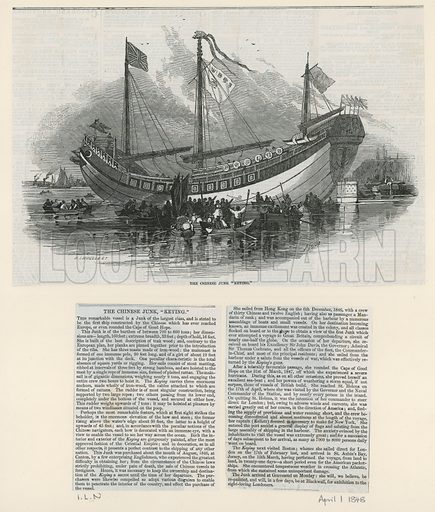 The Chinese Junk brought to London as a tourist attraction. From the Illustrated London News, 1 April 1848.