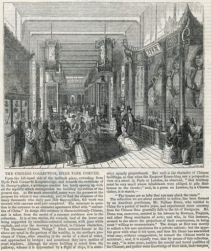The Chinese Collection, Hyde Park Corner. From the Illustrated London News, 6 August 1842.