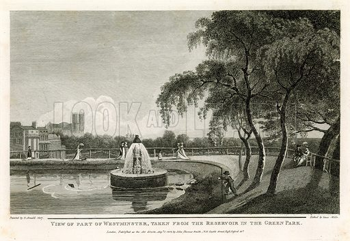 View of part of Westminster, taken from the reservoir in the Green Park. Painted 1807.